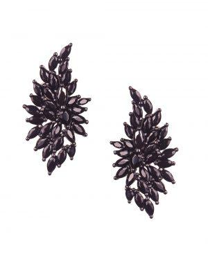 Brinco de asas em prata, com espinélios e ródio negro