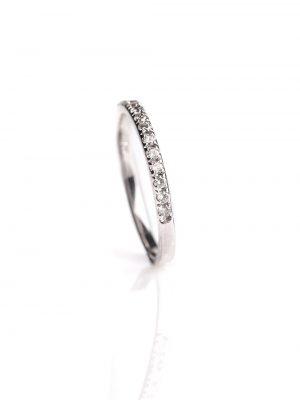 Meia Aliança Ouro Branco De Diamantes