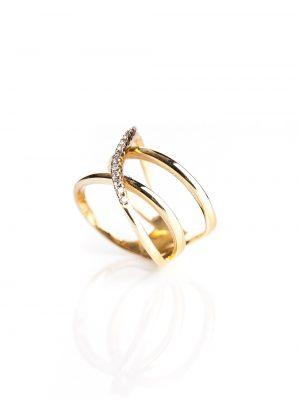 Anel em X vazado, confeccionado em ouro amarelo 18k e 15 pontos de diamantes