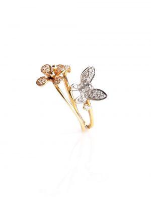 Anel Borboleta Ouro Amarelo, Rose E Branco Com Diamantes