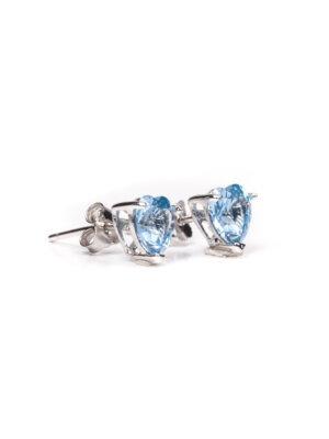 Brinco de coração em prata rodinada com topázio azul