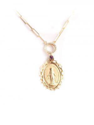 Gargantilha Nossa Senhora em ouro amarelo 18k com rubi e 10 pontos de diamantes