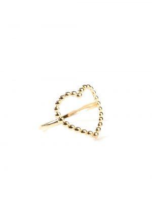 Anel em formato de coração feito com bolinhas em ouro amarelo 18k
