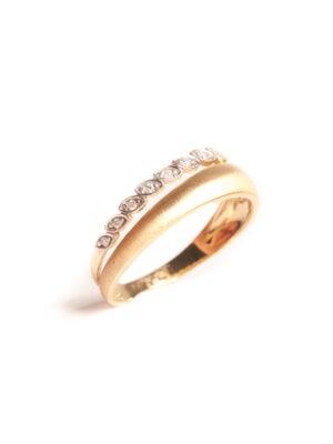 Anel 2 fios em ouro amarelo 18k com 4 pontos de diamantes